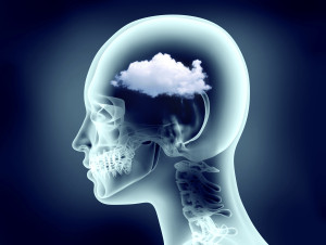 x-ray image of human head with brain fog