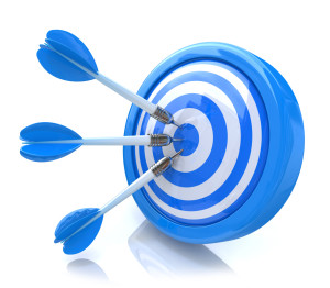 Three arrows in the center of a blue target.