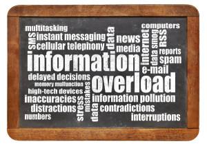 information overload concept - word cloud on a vintage slate blackboard